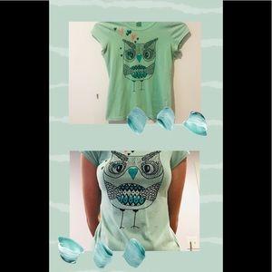 Teal green owl shirt
